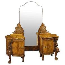 20th Century Italian Cheval Mirror In Walnut And Burl Walnut