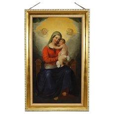 19th Century Italian Religious Painting Oil On Canvas Virgin With Gilt With Gilt Frame