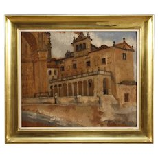 20th Century Belgian Signed Painting Oil On Board Landscape With Architectures