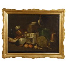 20th Century Spanish Still Life Painting Oil On Canvas With Gilt Frame