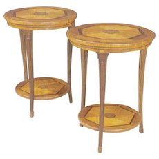 20th Century Pair Of Italian Side Tables In Mahogany, Cherry, Oak And Fruitwood