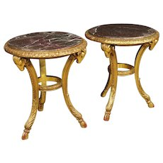 20th Century Pair Of French Living Room Side Tables In Gilt Wood With Marble Top