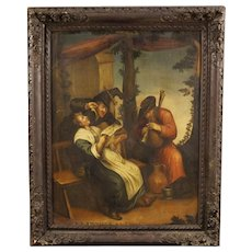 18th Century French Painting Popular Scene Oil On Canvas