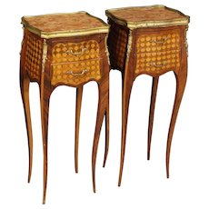 20th Century Pair Of French Bedside Tables In Inlaid Wood With Marble Top In Louis XV Style
