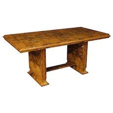 20th Century Italian Dining Table In Burl Walnut Wood In Art Deco Style