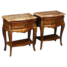 20th Century Pair Of French Bedside Tables in Inlaid Rosewood With Marble Top