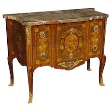 20th Century French Dresser 2 Drawers In Inlaid Wood Marble Top Gilt Bronzes In Louis XV Style