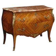 20th Century French Dresser In Inlaid Wood With Marble Top In Louis XV Style