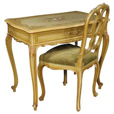 20th Century Venetian Writing Table And Chair In Lacquered And Painted Wood