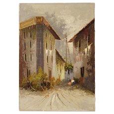 20th Century Italian Landscape Painting Mixed Media On Canvas