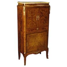 20th Century French Inlaid Sideboard With Marble Top And Gilt Bronzes