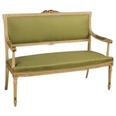 20th Century Italian Sofa In lacquered And Gilt Wood In Louis XVI Style