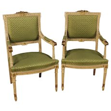 20th Century Pair Of Italian Lacquered, Carved And Gilded Armchairs In Louis XVI Style