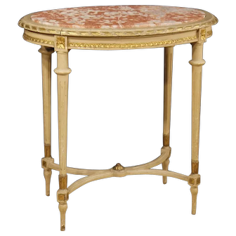 20th Century Italian Side Table In Lacquered And Gilt Wood With Marble Top Louis XVI Style