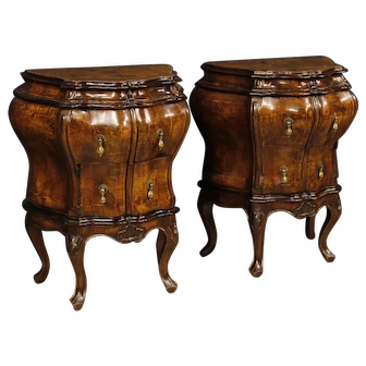 20th Century Pair Of Venetian Bedside Tables In Walnut,Burl And Maple Inlay In Louis XV Style