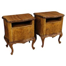 20th Century Pair Of Italian Bedside Tables In Walnut And Burl With Marble Top