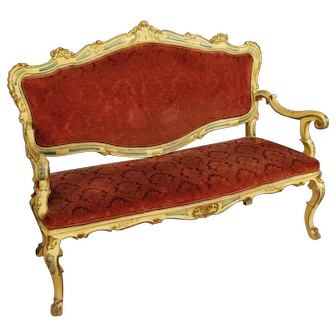 20th Century Venetian Sofa In Lacquered, Carved And Gilded Wood