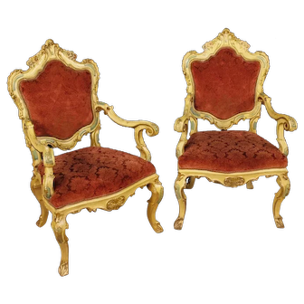 20th Century Pair Of Venetian Armchairs in Lacquered and Gilt Wood
