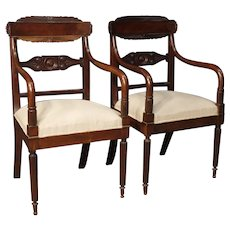 19th Century Antique Pair Of Italian Armchairs In Carved Mahogany Wood