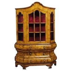 20th Century Dutch Display Cabinet In Walnut, Burl Walnut And Maple Wood