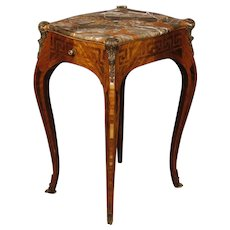 20th Century French Inlaid Side Table With Marble Top In Louis XV Style