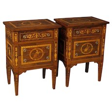 20th Century Pair Of Italian Inlaid Bedside Tables In Louis XVI Style