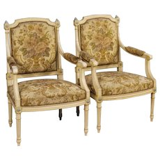 20th Century Pair Of Lacquered Wooden French Armchairs In Louis XVI Style