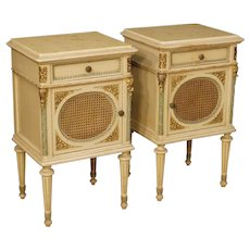 20th Century Italian Bedside Tables In Lacquered Wood In Louis XVI Style