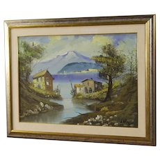 20th Century Italian Lake View Signed Painting Oil On Canvas