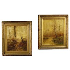 19th Century Pair of French Signed Landscape Paintings Oil On Canvas