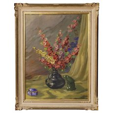 20th Century Italian Still Life Painting Vase With Flowers Oil On Canvas