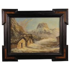 20th Century French Mountain Landscape Signed Painting Oil On Board
