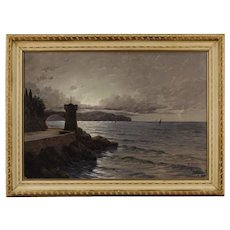 20th Century Italian Signed Seascape Painting Oil On Canvas