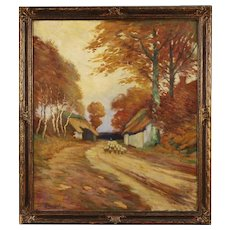 20th Century French Landscape Painting Oil On Canvas Signed And Dated