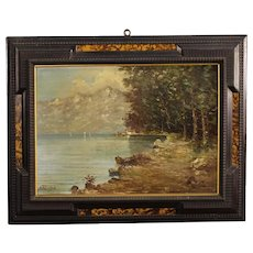 20th Century Italian Landscape Painting Lake View Oil on Board