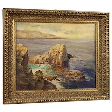 20th Century Italian Painting Seascape With Cliff Oil On Canvas