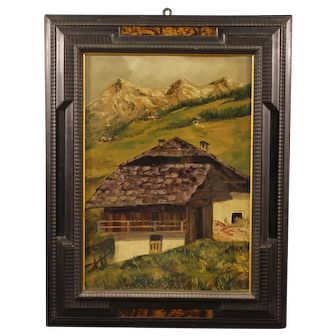 20th Century French Mountain Landscape Painting Oil on Cardboard