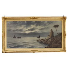 20th Century Italian Seascape Signed Painting Oil On Canvas