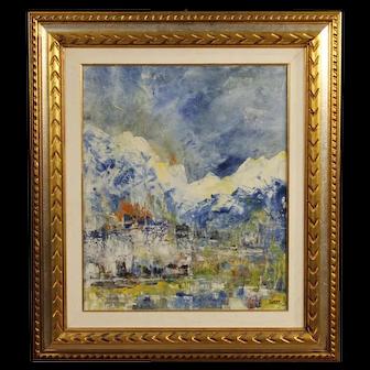 20th Century Italian Abstract Painting Mixed Media On Canvas