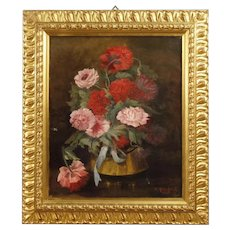 20th Century French Signed And Dated Still Life Painting Oil On Canvas
