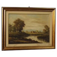 20th Century  Italian Signed Landscape Painting Mixed Media On Canvas