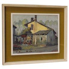20th Century Italian Popular Scene Painting Oil On Board