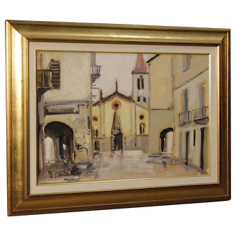 20th Century Italian Signed And Dated Painting View Of The City Oil On Canvas