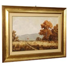 20th Century Italian Signed And Dated Landscape Painting Oil On Canvas