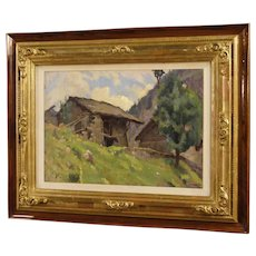 20th Century Italian Signed Countryside Landscape Painting Oil On Panel