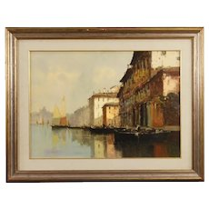 20th Century Italian Venice View Signed Painting Oil On Canvas