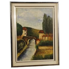 20th Century Italian Signed Landscape Painting Oil On Canvas