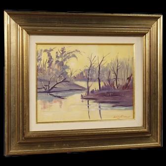 20th Century Italian Landscape Painting Oil On Masonite