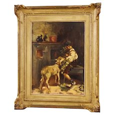 20th Century Italian Signed Interior Scene Painting Oil On Canvas