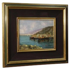 20th Century Italian Signed Seascape Oil On Canvas Painting
